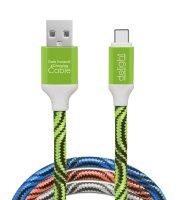 Adatkábel - USB Type-C szövet bevonat 4 szín - 1 m