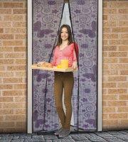 Szúnyogháló függöny ajtóra mágneses 100 x 210 cm Lila pillangós