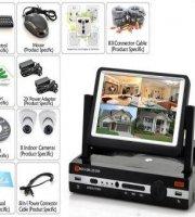 Online HD megfigyelő rendszer 8 kamerával , beépített kijelzővel, HDMI porttal