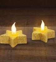 LED-es teamécses CSILLAG alakú arany színű 2 db / bliszter