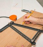 Fém négyoldalú vonalzó, szögmásoló - 31 x 18 cm
