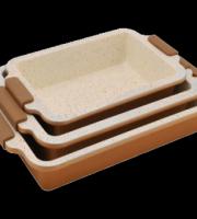 3 darabos kerámia tepsi készlet szilikon fogantyúval, BIO Kerámia bevonattal