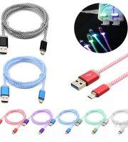 Színes textil bevonatú micro USB kábel, villogós
