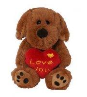 Plüss Floppy kutya szívvel, LOVE YOU felirattal