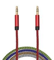 AUX adatkábel - 3,5 mm jack szövet bevonat 5 szín - 1 m