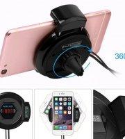 Forgatható autós telefontartó és Bluetooth FM Transzmitter/töltő