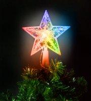 Karácsonyi LED-es csillag csúcsdísz - 10 LED - 15 cm - RGB - 2 x AA