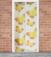 Szúnyogháló függöny ajtóra mágneses 100 x 210 cm Sárga pillangós
