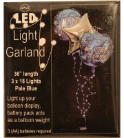 Led girland, 3 héliumos lufihoz, 3x18 led, elemes