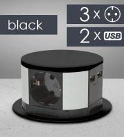 Elosztó - rejtett, 3-as + USB - fekete