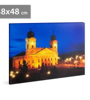 """LED-es fali hangulatkép - """"Nagytemplom Debrecen"""" -  3 x AA, 38 x 48 cm"""
