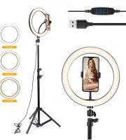 Selfie lámpa állvánnyal, telefontartóval, fényerőszabályzóval, 30 cm