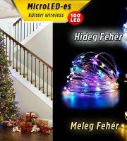 5m-es Micro LED-es elemes fényfűzér (Színes)