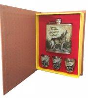 Állatmintás flaska szett, könyv alakú díszdobozban