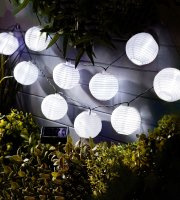 Szolár lampion fényfüzér - 10 db fehér lampion, hidegfehér LED - 3,7 m