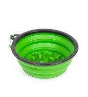 Összenyomható etetőtál - habzsolásgátlóval - zöld - 1000 ml