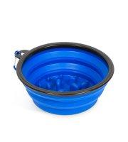 Összenyomható etetőtál - habzsolásgátlóval - kék - 1000 ml