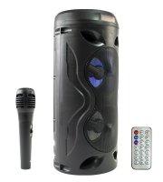 Bluetooth akkumulátoros multimédia hangszóró, mikrofonnal, távirányítóval 10 W