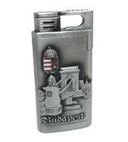 Budapest feliratú újratölthető fém öngyújtó, díszdobozban