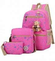 Iskolatáska szett 3 db (Hátizsák, oldaltáska, kozmetikai-neszesszer táska) rózsaszín