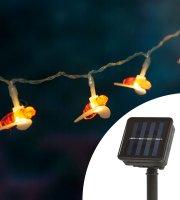 LED szolár fényfüzér - méhecske - 2,3 m - 20 LED - melegfehér