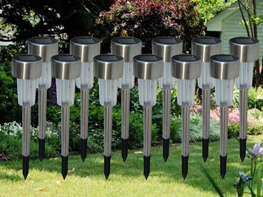 Nagyméretű napelemes inox kerti lámpa