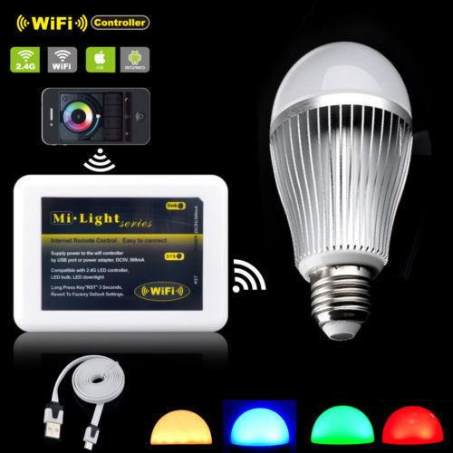 MiLight E27 9W Smart LED Bulb Lamp 2 4G Wireless RGB RGBW Warm Cold White Mi