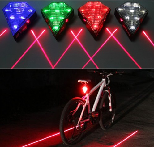 New 4 Colors Bike Bicycle Cycling 8 LED 2 Laser Beam Tail Light Safety Rear Warning
