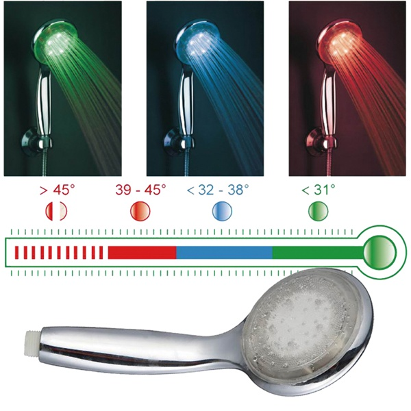vyrn 2029zuhanyfej LED es vizhomerseklettol fuggoen szinvalto elem nelkul mukodik funkcios fenyes i11481