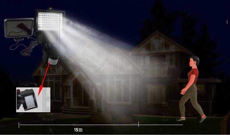 60 LED Napelemes LED reflektor, mozgásérzékelővel